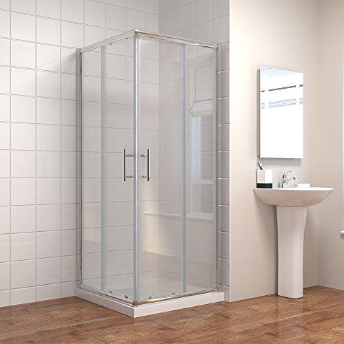Duschkabine/Duschabtrennung 80x80cm Eckeinstieg Doppel Schiebetür Echtglas