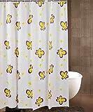 H&S Duschvorhang Duschvorhänge Gelben Blumen Wasserdicht Atmungsaktiv Feuchtigkeit Tierheim Bad Eine Badewanne Duschvorhänge Anti-Statische Duschvorhang (Größe: 150 * 180 cm).