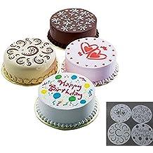 Katech 4 Piezas de DIY Molde de Tarta de cumpleaños de impresión Modelo moldes Diferentes Patrones