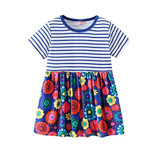 Mädchen Kurzarm Kurze Kleid Elegant Gestreift Patchwork Karikatur Blumendruck Floral Kleid Sommer Kleinkind Kleidung Prinzessin Party Kleider ()