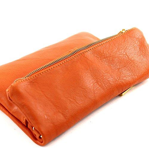 Borsetta in pelle a mano/tracolla in pelle italiana, misura piccola, T54 Orange