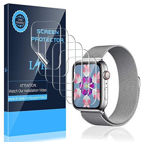 K&L [6 Stück] LK Schutzfolie für Apple Watch 40mm 38mm, [Kompatibel mit Hülle] [Blasenfreie] Klar HD Weich TPU Folie [Lebenslange Ersatzgarantie]