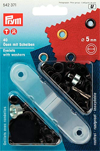 Prym 542371 Ösen und Scheiben Messing 5,0 mm brüniert, metal, 5 mm