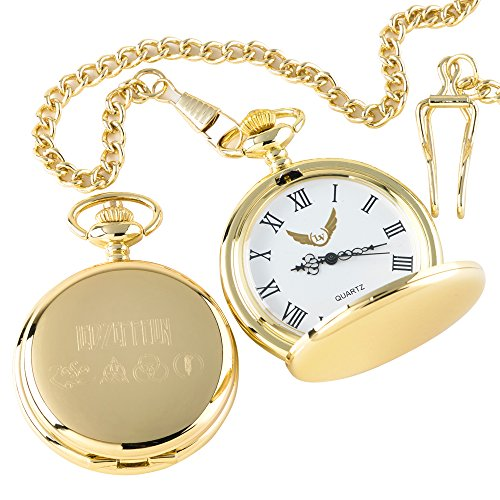 LED ZEPPELIN 4Symbole Taschenuhr 24kt Gold beschichtet Luxus Geschenk in Box Eine tolles zum Sammeln für LED ZEP Fans und Sammler