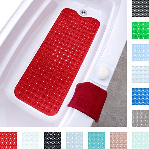 SlipX Solutions Extralange Badematte mit rutschfestem Halt für Wannen und Duschen - 30% länger als Standardmatten! (200 Saugnäpfe, 99 cm lang - erweiterte Abdeckung, maschinenwaschbar, rot) -