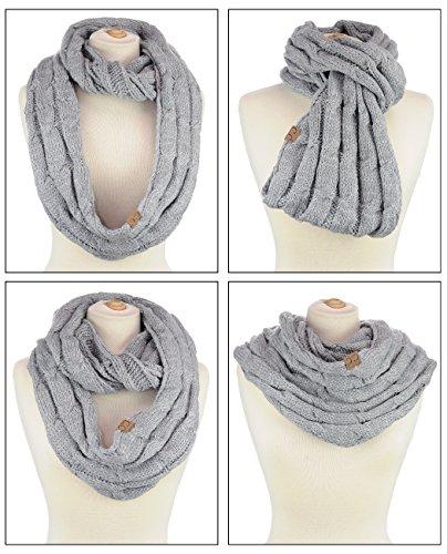 Foulard infinité chaud à gros fils tricotés. Produit offert par NYfashion101. #28 - Gris deux tons