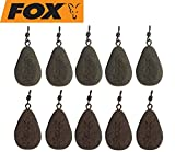 Fox Bleie Flat Pear Leads Karpfenbleie Wirbelbleie 10 Bleie, Festbleimontage, Karpfenangeln, Birnenblei, Gewicht:106g