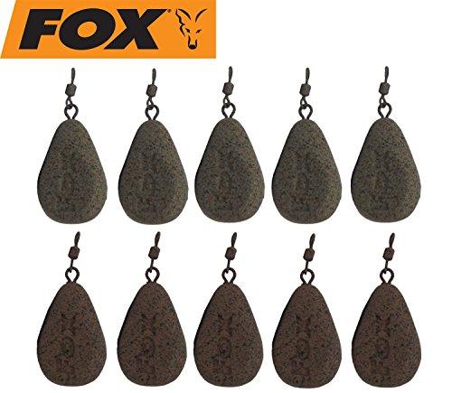 Fox Bleie Flat Pear Leads Karpfenbleie Wirbelbleie 10 Bleie, Festbleimontage, Karpfenangeln, Birnenblei, Gewicht:78g