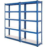 2Bay estantería de acero resistente garaje estantería 150kg por estante (5niveles 1500mm H x 750mm W x 300mm D) + entrega gratis al día siguiente