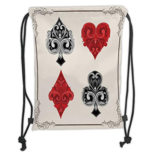 Trsdshorts Poker Tournament Decorations,Baroque Frame Gamble Symbols Vintage Antique Ornamental,Red Black Silver Soft Satin,5 Liter Capacity,Adjustable String Closur