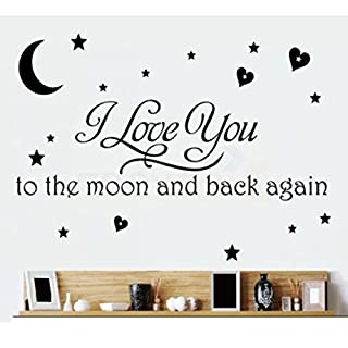 LOVE Quotes Wall Decor Wall Art I LOVE YOU To The Moon And Back Black Words Wall Sayings Quotes Easy Apply Wall Sticker Wall Art for Children Bedroom Baby Nursery Home Decor -black by Rondaful