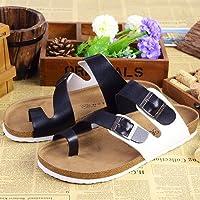 Las parejas masculinas zapatillas de corcho de verano tiene un pasador de pinza arena antideslizante cool zapatillas sandalias tendencia casual que el arrastre y la hembra 39 ,A-2 en blanco y negro Fankou