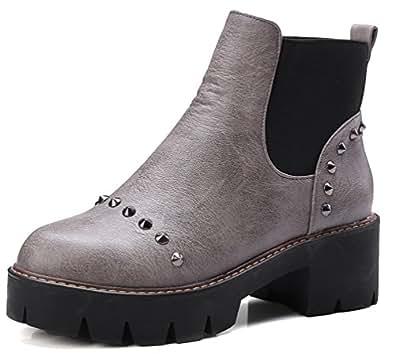 SHOWHOW Damen Martin Boots Kurzschaft Stiefel Mit Absatz Grau 35 EU DvUCQIV5d