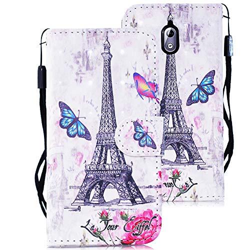 WIWJ Nokia 3.1 Hülle, Premium Tasche Cover Handyhülle[3D Gemalt Lanyard Ledertasche] Brieftasche Flip Case Lederhülle Schutzhülle Handyhüllen für Nokia 3.1-Schmetterling Paris Tower