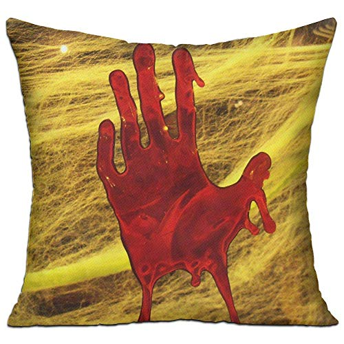 ers, Wurfkissenbezug, Bloody Hand Print Square Pillow Cover - Home Decorative Throw Pillowcase No Core ()