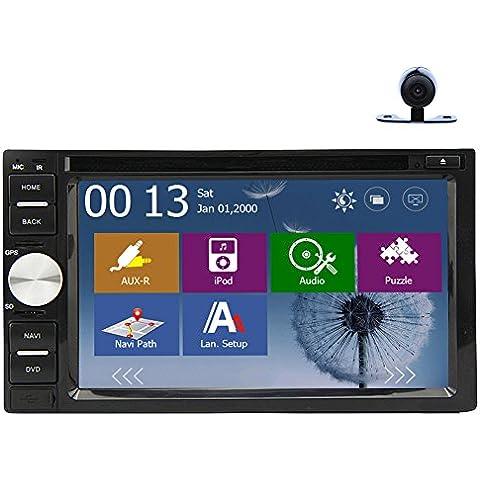 Audio monitor BT Musica Radio Automotive In Deck video stereo universale 2 DIN Autoradio DVD dell'automobile del giocatore di RDS motorizzato Aux Telecomando logo HD Camera