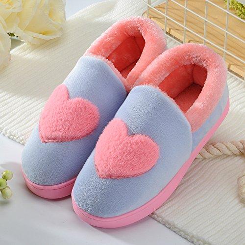 DogHaccd pantofole,La sig.ra Cotone d'inverno pacchetto pantofole per rimanere nella spessa coperta di lana coppie Cartoon carino maschile di vello di peluche Blu cielo3