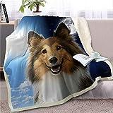 LIUS Decke Haustier Hund Decke Auf Bettdecke Tag Und Nacht Himmel Landschaft Sofa Abdeckung 130cmx150cm Hund 3