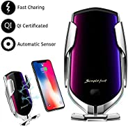 Automatic Clamping Wireless Car Charger Mount, lesgos Infrared Auto-Sens Fast Qi Wireless Car Charger Air Vent