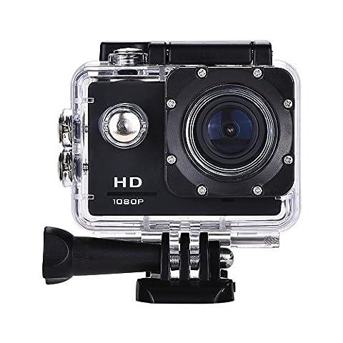 Lyhoon 1080P HD Sport Caméra 2.0 '' imperméable à l'eau sous-marine 30m 120 degrés lentille écran Sport DV Cam DVR avec plusieurs accessoires pour vélo moto Surf Ski Natation Plongée etc. (noir-2,