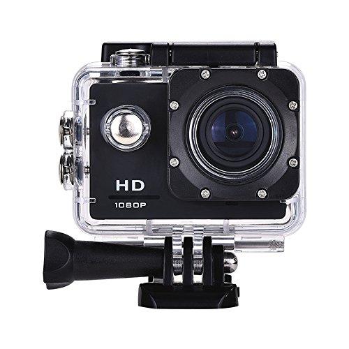 Lyhoon 1080P HD Sport Caméra 2.0 '' imperméable à l'eau sous-marine 30m 120 degrés lentille écran Sport DV Cam DVR avec plusieurs accessoires pour vélo moto Surf Ski Natation Plongée etc. (noir-2, 1080P)