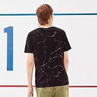 MN Summer round neck T-shirt modelo de mármol de la moda de los hombres inglés impresión de la chaqueta de los hombres de la manga corta de los hombres,negro,M