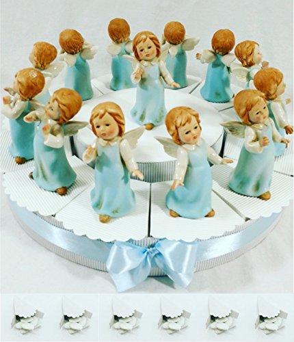 Torta bomboniere angioletti su torta portaconfetti con confetti tutto come in foto sb (torta da 12 angeli + 1 angelo centrale tunica azzurra)