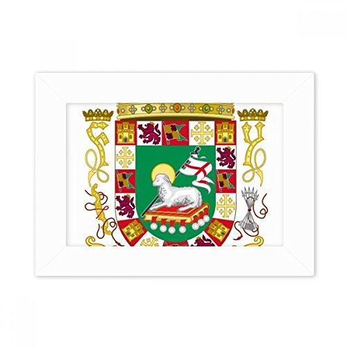DIYthinker Puerto Rico National Emblem Desktop-Foto-Rahmen-Weiß-Bild-Kunst-Malerei Passt 10.2 x 15.2cm (4 x 6 Zoll) Bild Mehrfarbig (Bilder Von Puerto Rico)