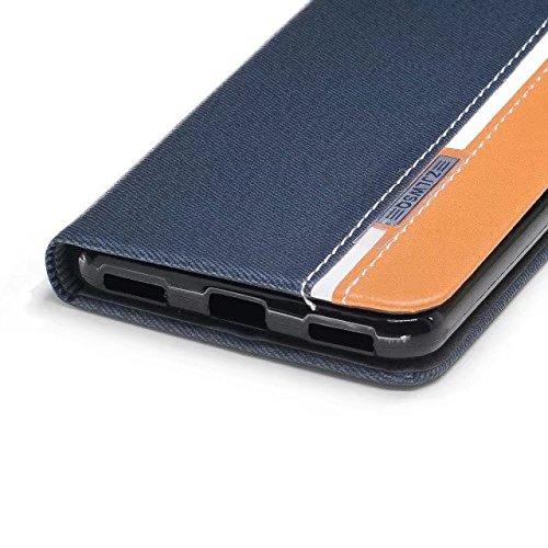 EKINHUI Case Cover Mischfarben Premium Synthetik PU Ledertasche mit Kartenfächern und Kickstand für Huawei Y5 (2017) ( Color : Black ) Blue