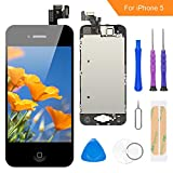 FLYLINKTECH Écran LCD Tactile de Remplacement pour iPhone 5 Noir 4.0 Pouces,modèle Complet préassemblés (caméra Frontale/Bouton Home/capteur de proximité/écouteur) Kit d'outils de réparation