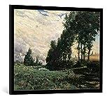 """Quadro con cornice: Hippolyte Boulenger """"Approche de l'orage"""" - stampa artistica decorativa, cornice di alta qualità, 95x75 cm, nero / angolo grigio"""