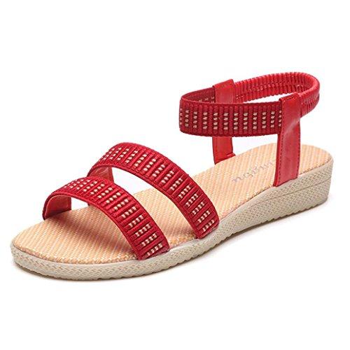 Hunpta Flache Schuhe Elastizität Böhmen Freizeit Lady Peep-Toe Sandalen Outdoor Damenschuhe Rot