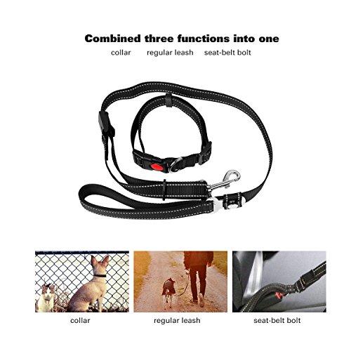 3 in 1 di sicurezza Cane Cintura Sedile Car Belt-cane Bolt cinghia del collare-Regular Guinzaglio posti con linee riflettenti, maniglia imbottita e collare regolabile viaggio a piedi per i cani