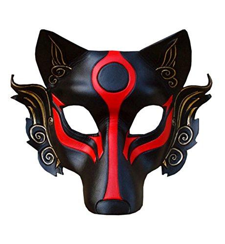 nihiug Spezielle Japanische Maske Männer Warrior Wolf Maske Peek EIN Boo Ghost Halloween Baum Wrap Boo Banner Ghost Decor NEU Laser Cut Medieval,A (Wolf Warrior Kostüm)