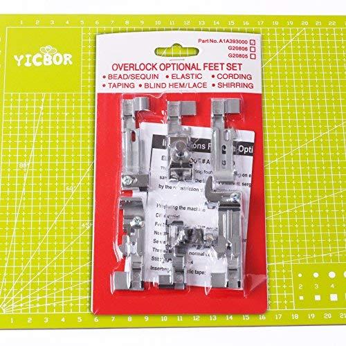 YICBOR - Juego de 6 prensatelas de serger Deluxe para Juki Lock MO-50E MO-51E Singer QuantumLock 14T948, 14T957,14T967,14T968 (paquete de unidad)