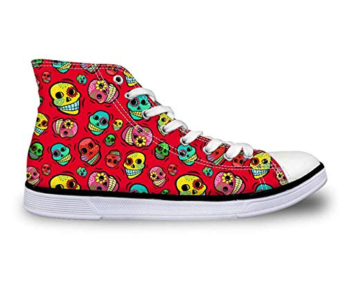 Cool Skull Boys Girls High Top Canvas Sneakers Shoes School Womens New Travel red C3945AK Women¡®s us Size 6 Zipper Jump Boot
