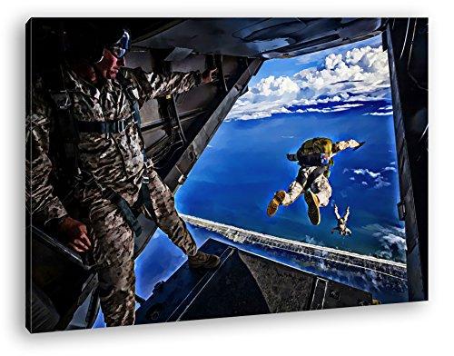 Fallschirmspringer in Aktion Format: 120x80 Effekt: Zeichnung als Leinwandbild, Motiv fertig gerahmt auf Echtholzrahmen, Hochwertiger Digitaldruck mit Rahmen, Kein Poster oder Plakat