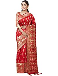 SareeShop Sarees Women's Red Color Cotton Silk Jacquard Saree With Blouse # 591F9AC8637FC3E1