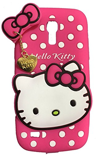 Hello Kitty Silicone With Pendant Back Case Cover For Samsung S4 Mini I9190