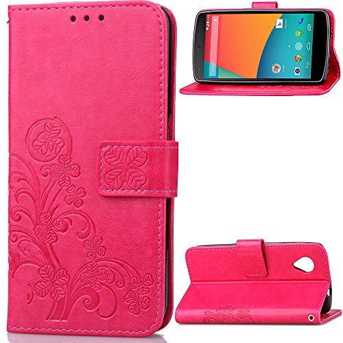 Google Nexus 5 Case,BONROY® Google Nexus 5 Lucky Clover Embossed Leather PU Phone Holster Case, Flip Folio Book Case, Wallet Cover with Stand Function, Card Slots Money Pouch Protective Leather Wallet Case for Google Nexus 5 Test