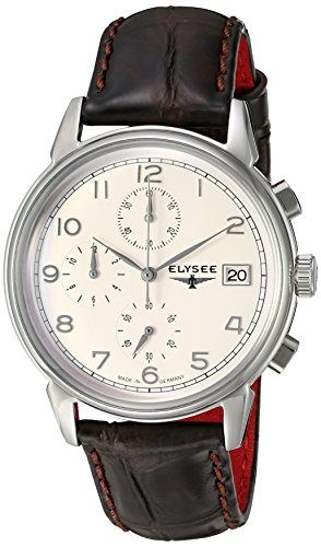 ELYSEE Made in Germany Vintage Chrono 80550 40mm Stainless Steel Case Brown Calfskin Synthetic Sapphire Men's Watch