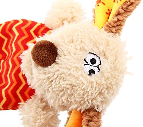 GiGwi 6222 Hundespielzeug Plush Friendz Hund aus Plüsch mit austauschbarem Quietscher, für kleine Hunde, beige / rot - 2