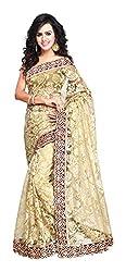 Aruna Sarees Womens Net Saree with Blouse Piece (Beige)