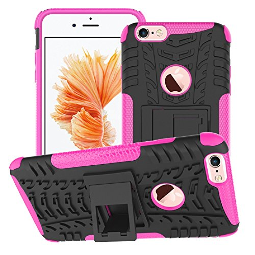 iPhone 6 6s Case, Shock Proof Tough Rugged Dual-Layer Case with Built-in Kickstand for iPhone 6 6s 4.7 iPhone6 / 6s Plus (rosa)
