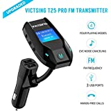 VicTsing Car Kit Wireless Bluetooth FM Transmitter Hands-free Car Charger Radio Adapter With 3 Ports USB 1.44 Inch Display USB Flash Memory MP3 Player, Support TF Card And AUX Input Supports Up To 32G