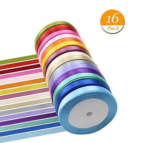 Meetory 16pack 365,8m stain ribbon, rotolo di nastro, nastro di seta tessuto colorati per craft wedding gift party bows (larghezza 10mm)