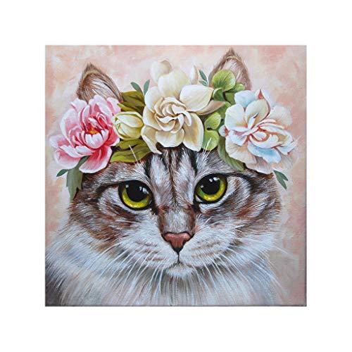 DIY 5D Full Diamond Painting Kit Diamond Art Kits for Adult A Cat with A Kranz Paint with Diamonds Kits Diamonds Stickerei nach Zahlen (30 x 30 cm) -