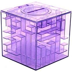 Jungen jarra de plástico de la novedad Money Maze Moneda Caja Puzzle regalo premio Hucha, plástico, Morado, 9cm x 9cm x 9cm