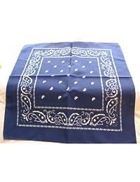 Bandana 100% coton, motif cachemire Article neuf Utile tous les jours, pour bikers, etc.. 55x55cm Bleu roi