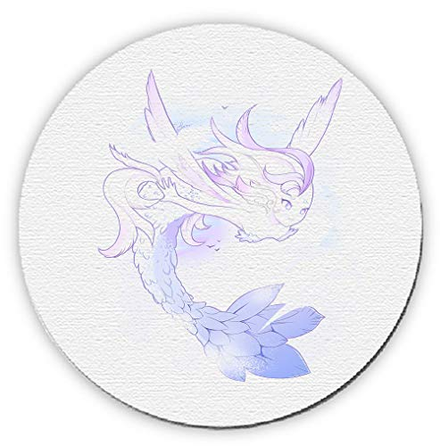 Runder Teppich, Motiv: Meerjungfrau, Flügel, Engel des Himmels -
